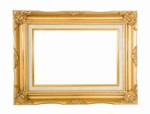 在白色背景的古色古香的金黄照片框架 库存照片