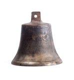 在白色背景的古色古香的铜小响铃 免版税库存图片
