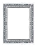 在白色背景的古色古香的银色框架 库存照片