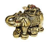 在白色背景的古铜色大象 库存图片