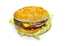 在白色背景的可口汉堡包 免版税库存照片