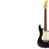 在白色背景的右边固体经典电吉他,与大量拷贝空间 免版税库存照片