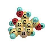 在白色背景的吡哚素(维生素B6)分子结构 免版税库存照片