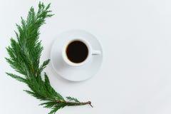 在白色背景的咖啡杯和杉木早午餐顶视图与文本的空间 Minnimal,季节性咖啡时间概念 免版税库存图片