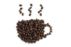 在白色背景的咖啡豆孤立 免版税库存图片