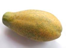 在白色背景的唯一黄色番木瓜 免版税库存照片