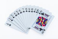 在白色背景的啤牌卡片 库存图片