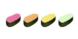 在白色背景的四个Tobiko獐鹿寿司 库存照片