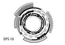 在白色背景的圆的商标 库存照片