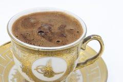 在白色背景的土耳其咖啡 库存照片