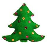 在白色背景的圣诞树手工制造玩具 库存图片