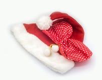在白色背景的圣诞老人帽子,圣诞老人 库存图片