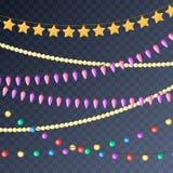在白色背景的圣诞节发光的光 有色的电灯泡的诗歌选 Xmas假日 看板卡圣诞节构思设计设计gh招呼的新年度 库存例证