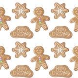 在白色背景的圣诞节姜饼无缝的样式 免版税库存图片