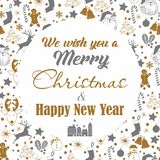 在白色背景的圣诞节无缝的灰色和金样式与鹿,雪人,糖果,袜子,星,与我们祝愿的文本的雪花 向量例证