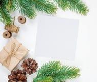 在白色背景的圣诞节框架 库存图片