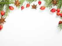 在白色背景的圣诞节装饰,莓果野玫瑰果,星,冷杉分支 复制空间 免版税库存照片