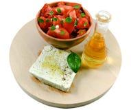 在白色背景的地中海开胃菜 免版税库存照片