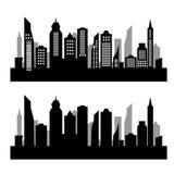 在白色背景的城市剪影 库存照片