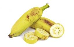 在白色背景的培养的香蕉切片 免版税库存照片