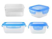 在白色背景的塑料食物箱子 免版税库存图片