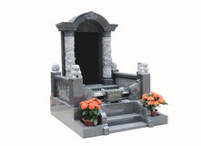 在白色背景的墓碑 免版税库存照片