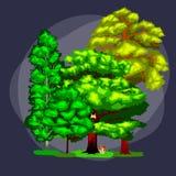 在白色背景的夏天绿色林木 动画片传染媒介集合树在室外公园 在的室外树 免版税库存图片