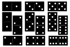 在白色背景的多米诺黑色集合传染媒介例证 库存照片