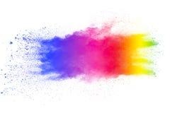 在白色背景的多颜色粉末爆炸 免版税图库摄影