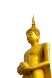 在白色背景的大菩萨雕象 免版税库存图片