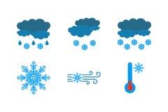 在白色背景的天气预报象 云彩和雨,雪,飞雪,降雪,霜传染媒介象  ?? 皇族释放例证