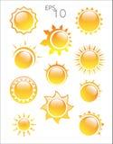 在白色背景的太阳商标 免版税图库摄影