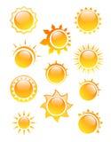在白色背景的太阳商标 免版税库存照片