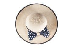 在白色背景的妇女的帽子 免版税库存照片
