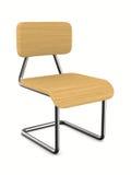在白色背景的学校椅子 免版税库存图片
