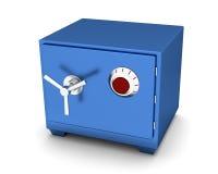在白色背景的安全箱蓝色颜色 3d回报 库存图片