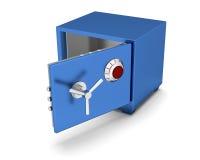 在白色背景的安全箱蓝色颜色 3d回报 图库摄影