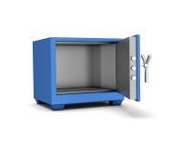 在白色背景的安全箱蓝色颜色 3d回报 免版税库存图片