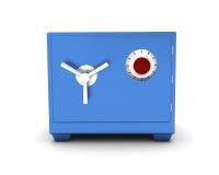 在白色背景的安全箱蓝色颜色 3d回报 免版税库存照片
