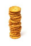 在白色背景的安扎克饼干 库存图片