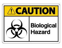 在白色背景的小心生物危险标志标志 库存例证