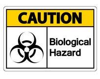 在白色背景的小心生物危险标志标志 皇族释放例证