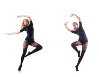 在白色背景的少妇跳舞 免版税库存照片