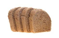 在白色背景的巧克力面包被切的位置 库存图片