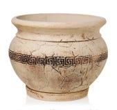 在白色背景的希腊花瓶 库存照片