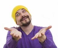 在白色背景的幽默滑稽的男性画象 免版税库存照片