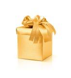 在白色背景的庆祝金黄礼物盒 图库摄影