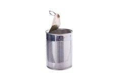 在白色背景的开放铝罐头孤立 免版税库存图片