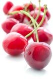 在白色背景的开胃甜樱桃 免版税库存照片