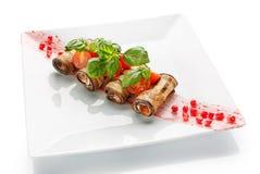 在白色背景的开胃餐馆食物 免版税库存照片